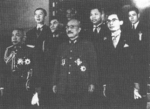 Thai special envoy Phot Phahonyothin (far left), Japanese Prime Minister Hideki Tojo (center), and Thai Minister Direk Jayanama, Tokyo, Japan, 1942