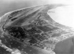 Kwajalein Airstrip, Marshall Islands, as seen from a US Marine PBJ-1 Mitchell bomber of bombing squadron VMB-613, 1944-1945.