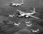 Martin B-26B Marauder bombers of the 597th and 598th Bomb Squadrons fly in formation over Goggeshall, Essex, England, UK, 1943-44.