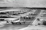 B-29 Superfortress bombers of the 462nd Bomb Group taxiing through West Field, Tinian, Mariana Islands, 1945.