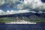 Battleship USS Nevada at anchor at Lahaina Roads, Territory of Hawaii, pre-war.  Note SOC Seagull scout aircraft on Nevada's catapults.