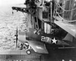 F6F-3 Hellcat of VF-1 being catapulted from the hangar deck catapult on the carrier Yorktown (Essex-class) off Trinidad, 3 Jun 1943.