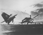F6F-5F Hellcat of VF-23 loses its tail section upon landing aboard the carrier Princeton, 1943-44.
