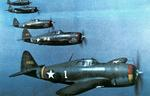Five P-47Bs of the 61st Fighter Sqdn in a training flight over Bridgeport, Conn, US, Sep-Oct 1942. 56th Fighter Group Commander Hub Zemke flies plane #1, which is why the cowling band is divided into the 3 colors of the group's 3 squadrons.  Photo 1 of 2.