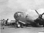 "B-29 Superfortress ""Gravel Gertie"" with the 882nd Bomb Squadron squats on the runway after suffering a main landing gear collapse, Isley Field, Saipan, Aug 6 1945"
