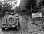 A US Army Jeep preparing to cross the border into Germany, Oct 5 1944.