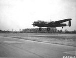 "Lancaster BII ""Fanny Ferkin II"" s/n DS842 of No. 514 Squadron landing at RAF Deenethorpe, base of the USAAF 401st Bomb Group, for a lecture tour of American bases, May 1944"