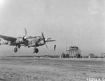 P-38J Lightning Droop Snoot with the 402nd Fighter Squadron coming in for a landing, possibly at Sandweiler, Luxembourg, Apr 10 1945.