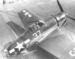An F6F-3 Hellcat of Fighting Squadron 1, the �High Hatters,� sustains a catastrophic failure while landing aboard the carrier USS Yorktown (Essex-class) north of the Marianas, 16 Jun 1944.