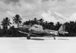 Avenger Mk II (TBF-1C) of the Royal New Zealand Air Force 30 Squadron at Turtle Bay airstrip, Espiritu Santo, New Hebrides, Feb 1944.