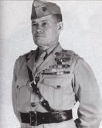Col Chesty Puller, Commander of Marine Infantry Training Regiment at Camp Lajeune, North Carolina, USA, July 1945