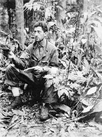 Major Victor H Streit, USMC, Operations Officer, 7th Marines planning combat operations on Cape Gloucester, New Britain, Jan 10 1944.