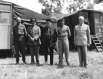 Lt General Miles Dempsey, Field Marshall Sir Alan Brooke, Winston Churchill, Field Marshal Bernard Montgomery, Prime Minister Jan Christiaan Smuts of the Union of South Africa at Château de Creully, Normandy, France, Jun 12 1944.  Photo 2 of 2.