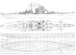Deck, profile, and hull drawings of the Bismarck.