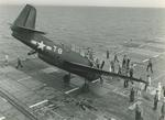 A TBF-1 Avenger noses over while landing aboard the training aircraft carrier USS Sable on Lake Michigan, United States, 1945.