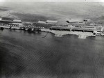 Aerial photo of the seaplane hangars and seaplane ramps at Luke Field on Ford Island in Pearl Harbor, Hawaii, early 1919.