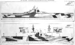 1944 plan for camouflage Measure 31-32-33, Design 3a on Essex-class fleet carriers. Of the 17 Essex-class carriers to see service during 1944-45, 3 were painted according to this plan plus 1 with this only on one side