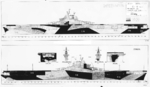 1944 plan for camouflage Measure 32, Design 17a on Essex-class fleet carriers. Of the 17 Essex-class carriers to see service during 1944-45, 4 were painted according to this plan.