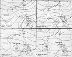 Four-part weather map of the South China Sea for Jan 11 to 14, 1945. Note daily positions of Task Force 38.