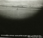 Aerial torpedo from United States carrier aircraft hits the stern of Japanese cruiser Kashii off the coast of French Indochina (Vietnam) north of Qui Nhon, Jan 12, 1945. Photo 2 of 9