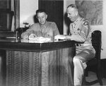Lt General George Kenney and Maj General Ennis Whitehead, US Fifth Air Force Commander and Deputy Commander respectively, 1944.