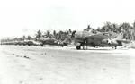 F4F Wildcat fighters of the US Navy and Marines lined up on Henderson Field on Guadalcanal, Solomon Islands, Jan 1943
