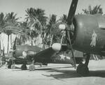 F6F-5N Hellcats of Marine Night Fighting Squadron VMF(N)-541 lined up at Falalop Airstrip, Ulithi Atoll, Caroline Islands, May 1945. Note the nose art, which was rare on Navy or Marine aircraft, especially pin-up girls.