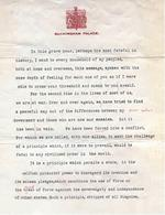 Typed script of the radio address King George VI of the United Kingdom delivered announcing Britain's entry into the war with Germany, Buckingham Palace, London, England, UK, Sept 3, 1939. Page 1 of 2.