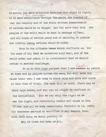 Typed script of the radio address King George VI of the United Kingdom delivered announcing Britain's entry into the war with Germany, Buckingham Palace, London, England, UK, Sept 3, 1939. Page 2 of 2.