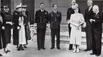 King George VI of the United Kingdom hosting a gathering of royal families in exile during World War II, early 1940s.