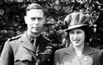 King George VI of the United Kingdom with his daughter and future queen, Princess Elizabeth, London, England, United Kingdom, April 1944.