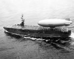 K-class airship K-69 of Airship Patrol Squadron ZP-1 lifts off the flight deck of escort carrier USS Mindoro, Apr 28, 1950.