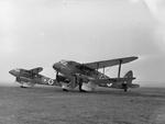 Two DH.89A Rapide air ambulance aircraft at RAF Hendon, Middlesex, England, United Kingdom circa Aug 1940
