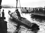 A Japanese Ko-hyoteki class midget submarine raised from of Sydney Harbor the day after the submarine attack in Sydney Harbor, New South Wales, Australia, Jun 1 1942