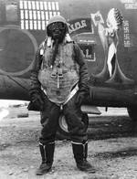 Major David G. Bellemere with the 455th Bomb Group standing in front of B-24H Liberator