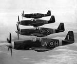 RAF Mustang Mk IIIs of No 19 Squadron based at Ford, Sussex painted with white nose and wing stripes to prevent mis-identification as Me 109s, Apr 21, 1944