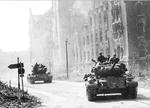 M26 Pershing tanks of the 2nd Armored Division on the streets of Magdeburg, Germany, mid Apr 1945