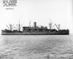 Amphibious Transport Ship USS Hunter Liggett approaching Mare Island Shipyard for an overhaul, Mare Island, California, United States, Mar 29, 1944. Note LCVP landing craft hanging from davits and stowed on deck.