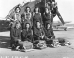 Eight WASP pilots in front of a North American AT-6 Texan 3 days before the WASPs were disbanded, Waco Army Airfield, Texas, United States, Nov 27, 1944. Photo 1 of 2.