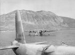 Sunderland flying boats in Kalamata Harbor waiting to pick up British troops for evacuation, Kalamata, Greece, Apr 28, 1941.