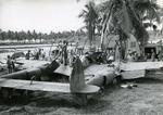 "P-38G Lightning ""Miss Virginia"" after a belly landing at Fighter Strip #2, Kukum, Guadalcanal, Apr 1943. Days earlier, this plane, flown by Rex Barber, shot down the G4M bomber carrying Isoroku Yamamoto over Bougainville"