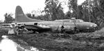 This B-17F Fortress, converted to an armed supply aircraft, had a wheel collapse during an emergency landing at Tadji Field, New Guinea and slid into the bomb dump, May 5, 1944