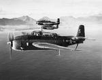An element of TBM-1C Avengers of Torpedo Squadron VT-32 assigned to Light Carrier USS Langley flying south from their temporary training base at Kaneohe, Oahu, Hawaii, 3 Jan 1944. Note Ko