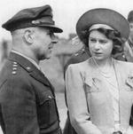 LtGen Jimmy Doolittle speaking with Princess Elizabeth of the United Kingdom during a Royal visit to RAF Thurleigh, home of the USAAF 306th Bomb Group, 6 Jul 1944.