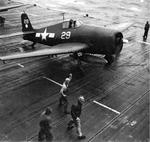F6F-5 Hellcat of Fighting Squadron VF-11, the Sundowners, preparing for take off from the USS Hornet (Essex-class), 1944.