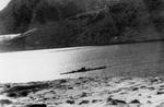 Type IXC/40 submarine U-537 at anchor in Martin Bay, Labrador, Dominion of Newfoundland (now Canada) on 22 Oct 1943. The photo is taken from the site of Weather Station Kurt on the Hutton Peninsula.