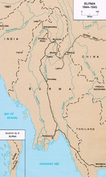 Map of Burma in 1944-45 showing lines of supply by rail and by road. Note the Burma Road and the Ledo Road labeled as the Stillwell Road.