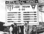 Late version of the Mile Zero signpost of the Stilwell Road at Ledo, Assam, India, 1945