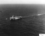 Air operations continue aboard USS Guadalcanal as the ship tows the captured German Type IXC submarine U-505 across the Atlantic, 17 Jun 1944.
