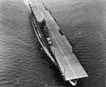 Overhead view of USS Yorktown (Essex-class) at Newport News, Virginia, United States, 27 Apr 1943